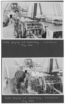 Cable Paying Out Machinery -- C.S. Colonia, July 1926, scrapbook.