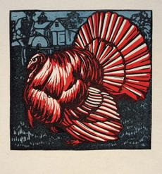 The Marchbanks Calendar--November, by Harry Cimino, color woodcut, Smithsonian American Art Museum, Gift of Charlotte Manzari, 1969.31.11.