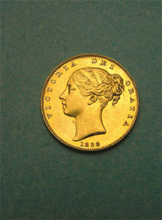 1838 British gold sovereign, National Museum of American History, 1985.0441.1579.