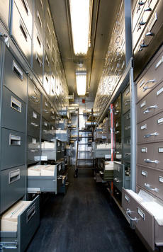 Smithsonian Institution Archives' cold storage vault at the National Museum of American History, by Ken Rahaim, Neg. no. 2007-17182.