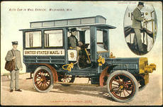 Postcard of the Milwaukee Mail Car, unidentified photographer, 1907