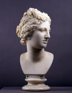 Unknown sculptor, Head of the Medici Venus, Copy of the Antique Roman Original, 1770s, marble, Real Academia de Bellas Artes de San Fernando, Museo.