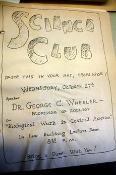 As a young Professor at Syracuse University, George C. Wheeler was invited to give a number of talks on campus in 1924-1925 about his travel experiences in Central America and the Caribbean. Record Unit 9560 - Oral history interview with George C. Wheeler, 1989, Smithsonian Institution Archives.