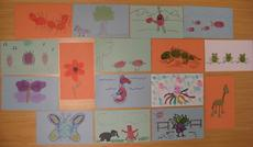 A fingerprint animal zoo by Kira Cherrix, Lesley Parilla, Marguerite Roby, Mitch Toda, and Jennifer Wright. Courtesy of Jennifer Wright.