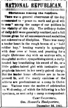 Christmas Among the Soldiers, The National Republican, December 28, 1861, page 1, courtesy of the Library of Congress, Chronicling America: Historic American Newspapers.