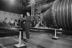 CBS reporter and Washington, D.C., native Roger Mudd (at right) interviews Smithsonian aeronautics c