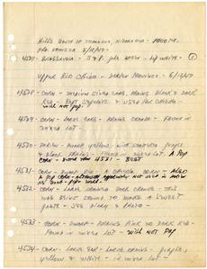 Page 142 of Paul Allen's Field Book from 1942-1947, Smithsonian Institution Archives, Accession 11-101, Neg no. SIA2011-2607.