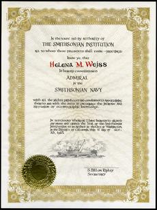 Helena Weiss' certificate appointing her an admiral in the Smithsonian Navy, from Secretary S. Dillon Ripley, 1965, Helena M. Weiss Papers, Accession 05-112, Box 2, Smithsonian Institution Archives, Neg. no. SIA2013-02864.
