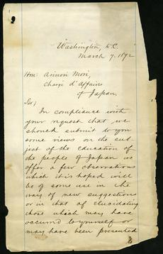 Letter from Henry to Mori, March 7, 1872, Smithsonian Institution Archives, Record Unit 7001, Box 12, Folder: 7, Neg. no. SIA2013-06571.