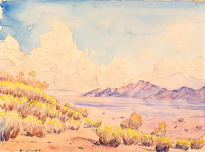 Drum Mountain Center, Utah, Watercolor by Akio Ujihara.