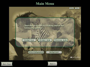 Screenshot of an executable file for displaying zoological information, National Zoological Park, Office of Public Affairs, Subject Files, 1977-2003, Accession 07-023, Smithsonian Institution Archives.
