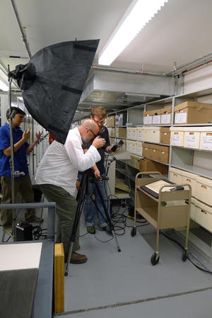 Dan Winter and crew shoot Smithson's draft Will behind the scenes for the Magazine.  Image courtesy of Nora Lockshin.