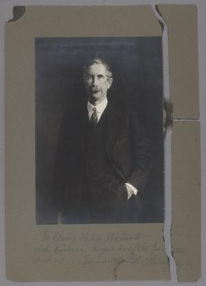 Portrait of Charles Greeley Abbot, silver gelatin developed-out photograph; the mount is broken in two places along the right edge. By Greta Glaser.