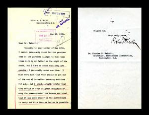 Robert Todd Lincoln's reply to Secretary Walcott, Smithsonian Institution Archives, Record Unit 192, Box 221, Folder 4, File 69608.
