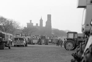 Tractors on the National Mall in front of the Smithsonian Castle.