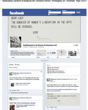 "The Archives of American Art Facebook page was the first we preserved in the new ""Timeline"" format. Screenshots were taken of the account on March 5, 2012 and then saved as a PDF/A document (a file format which is the archival standard for the digital preservation of documents)."