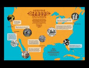Latinos in U.S. Popular Music map poster as part of the educational materials for American Sabor: Latinos in U.S. Popular Music.