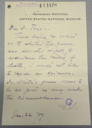 Accession 41108 Letter of Smithsonian Reply, Smithsonian Institution Archives