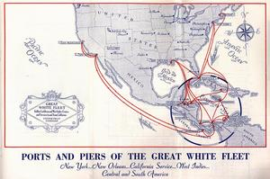 United Fruit Company map, showing ports of call in the United States and the Caribbean. Record Unit 9560 - Oral history interview with George C. Wheeler, 1989, Smithsonian Institution Archives.