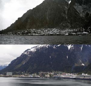 Juneau then and now: (top) Image of Juneau taken by Edward Curtis, 1899, Smithsonian Institution Archives, Record Unit, 7243, Box 1, SIA2012-3834; (bottom) Image of Juneau taken by Kira Cherrix, May 16, 2012.