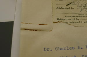 Staining caused by a rusty paperclip, October 2012, by Janelle Batkin-Hall, Watson Davis Papers, Smithsonian Institution Archives.