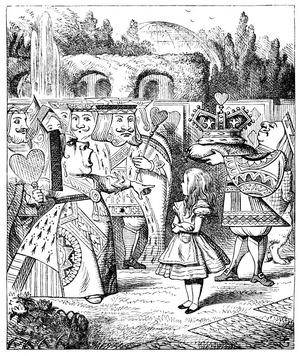 "The Queen of Hearts shouting at Alice, by John Tenniel, in Lewis Carroll's, ""Alice's Adventures in Wonderland."""