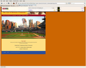 "A screenshot of the Roberto Clemente online exhibit as it appears on the Wayback machine, with the mouse hovering over ""Roberto Clemente's Story."""