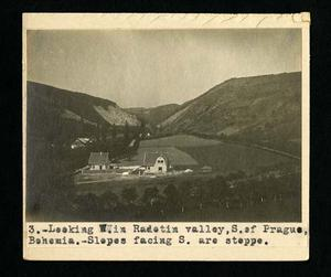 Photograph taken by Bohumil Shimek during field work in Europe, 1914, looking west in Radotin valley, south of Prague, Bohemia. Slopes facing south are steppe. Smithsonian Institution Archives, Record Unit 7082.
