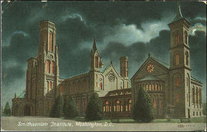 The Smithsonian Institution Building (the Castle) looking a little sinister from the Smithsonian Institution Archives' online exhibition Greetings from the Smithsonian: A Postcard Card History of the Smithsonian Institution.
