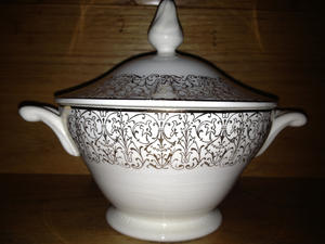 Sugar bowl, circa 1945. An inventory can include the type of item, who made it and the year, and whe