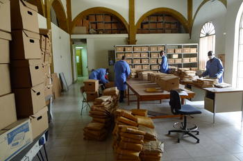 The Archives' team hard at work boxing 750+ document bundles.
