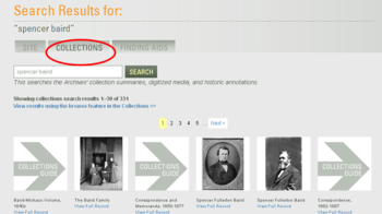Collections search results.