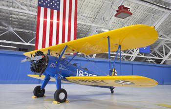 PT-13 D Stearman in hangar at Andrews Air Force Base, August 3, 2011, by Michael Barnes.