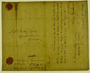 "Same letter photographed in transmissive light, revealing the watermark ""RUSE & TURNERS 1815"" (now w"