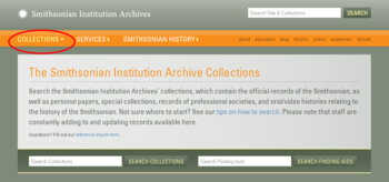Collections search page.