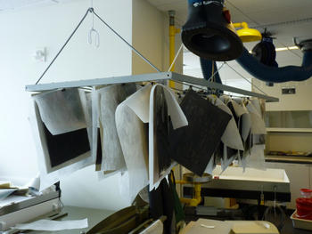 Disaster mock up - Drying negatives with hanging rack and nonwoven polyester, 2011, by Jessica Lapinsky.