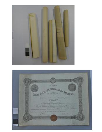 The top image shows several of the rolled documents before humidification and the bottom image shows one of the documents unrolled after humidification and flattening.