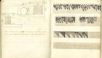 Drawing of the Electromagnetic Telegraph and the Alpha Code, by Alfred Vail.