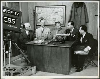 Broadcast from the studios of WTOP-TV, Washington, D.C. Pictured from left: Smithsonian Institution Secretary emeritus Charles Greeley Abbot, Smithsonian Institution Secretary Leonard Carmichael, WTOP announcer Bill Jenkins, Capitol Airlines executive Jennings Randolph, and National Air Museum curator Paul Garber.