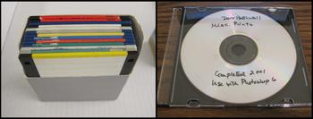 "Blank 3.5"" floppy disks and a well labeled CD-R, Holly Solloman Gallery Records Collection #293606 a"