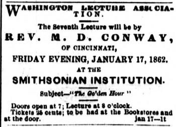 Advertisement for the Washington Lecture Assciation lecture series at the Smithsonian Institution Building, National Republic, January 17, 1862.