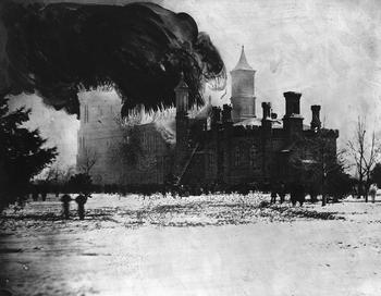 Fire in the Smithsonian Institution Building, by Alexander Gardner, January 1865, photographic print with painting, Smithsonian Institution Archives, Record Unit 95, Box 30, Folder 9, Negative number MAH-37082.