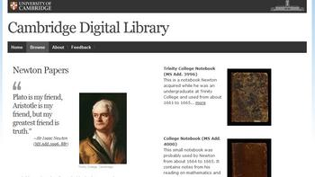 A screenshot of Cambridge University Library's new digital archive of Newton.