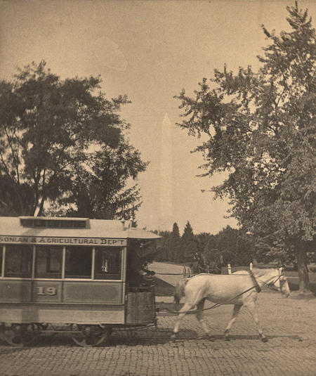 Horse drawn trolley car along the National Mall.