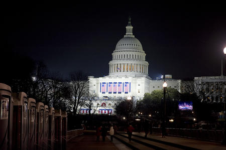"""Hope and Reality,"" Image of the Capitol the night before President Obama's first Inauguration. This is Barnes' favorite image of the event, January 19, 2009, by Michael Barnes, neg. no. 2009-1173."