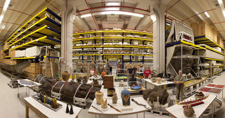A panoramic view of Pod 4 at the Museum Support Center.