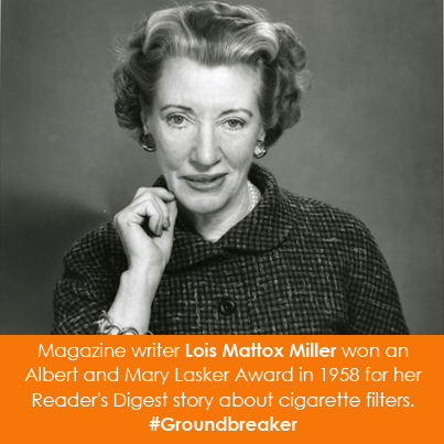 Magazine writer Lois Mattox Miller won an Albert and Mary Lasker Award in 1958
