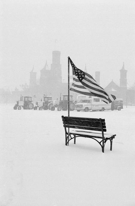 Tractors on the National Mall during a snowstorm.