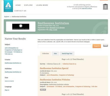 A screenshot of the Smithsonian Institution collections page on Archive-It.