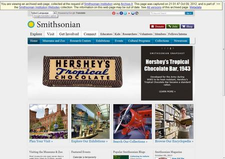A screenshot of the Smithsonian Institution homepage, crawled October 9, 2012.  This was the first website to be crawled by the Smithsonian Institution Archives using Archive-It.